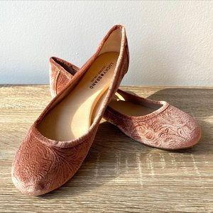 Lucky Brand Rose Pink Velvet Ballet Flats 8.5